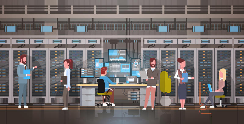 People Working In Data Center Room Hosting Server Computer Monitoring Information Database vector illustration