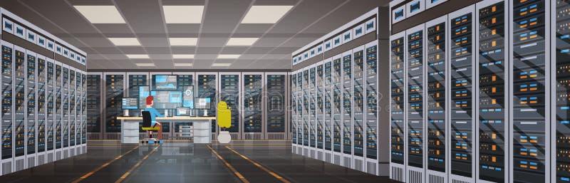People Working In Data Center Room Hosting Server Computer Monitoring Information Database. Flat Vector Illustration stock illustration