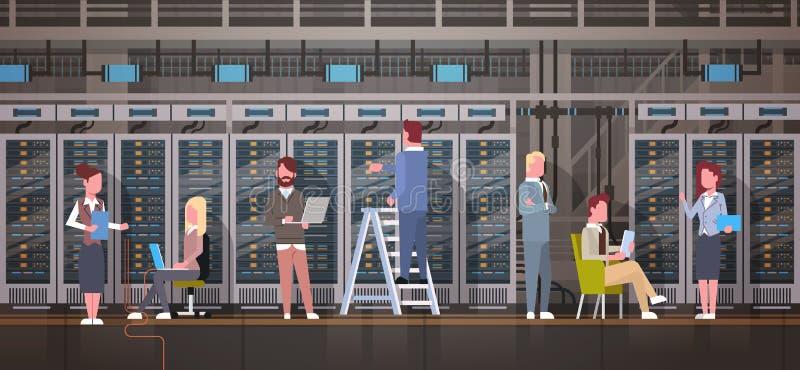 People Working In Data Center Room Hosting Server Computer Monitoring Information Database. Flat Vector Illustration royalty free illustration
