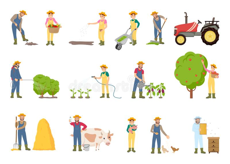 People Working on Farm, in Garden, Vector Banner royalty free illustration