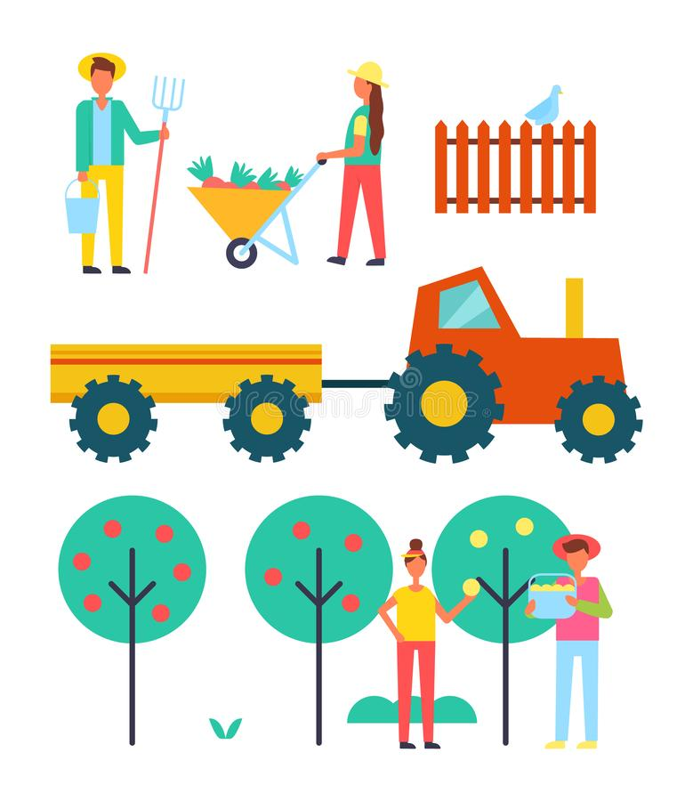People Working on Farm with Equipment Vector Icon stock illustration
