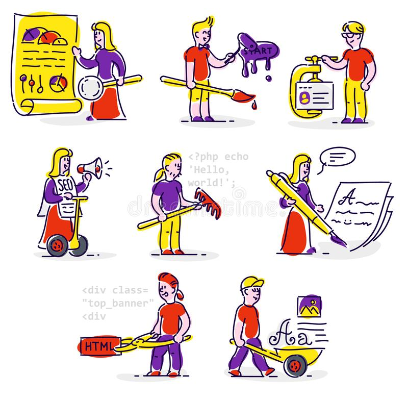 People working in the field of information technology. Set of vector icons men and women in the flat style stock illustration