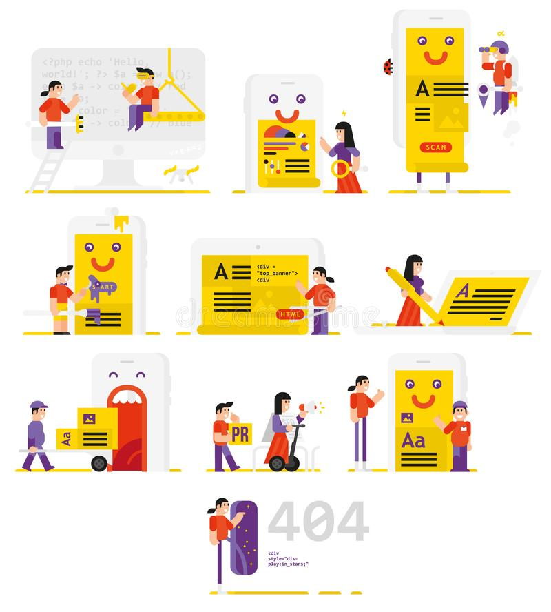 People working in the field of information technology. Set of vector icons men and women in the flat style. A set of icons for th royalty free illustration