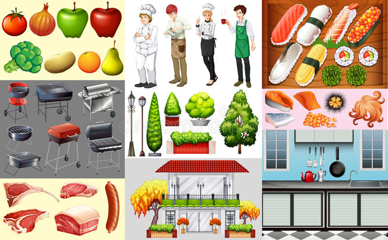 People working in food business and different kinds of food royalty free illustration