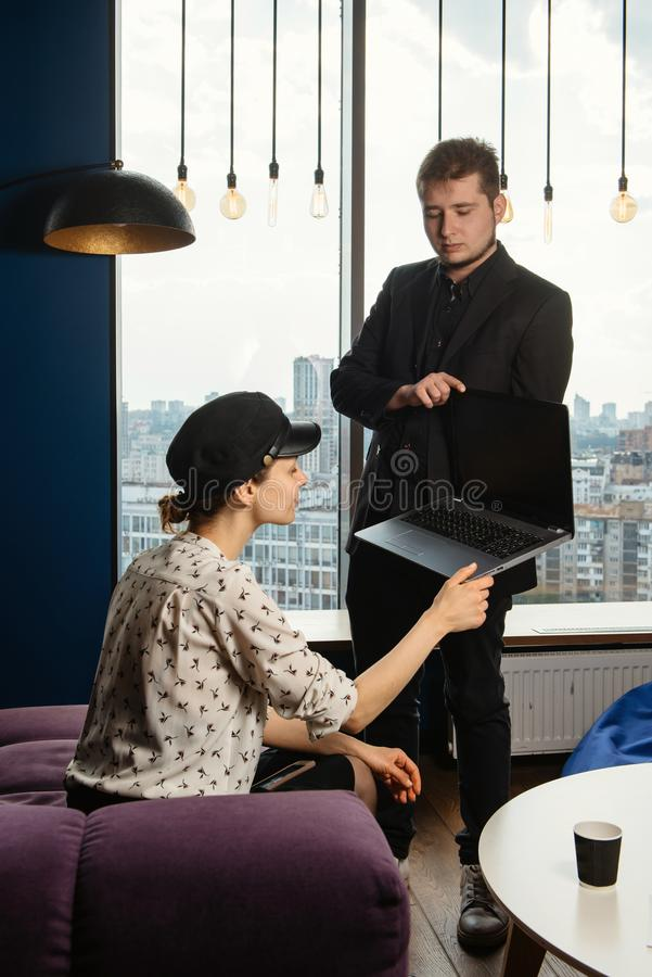 People working with gadgets in the office royalty free stock photo