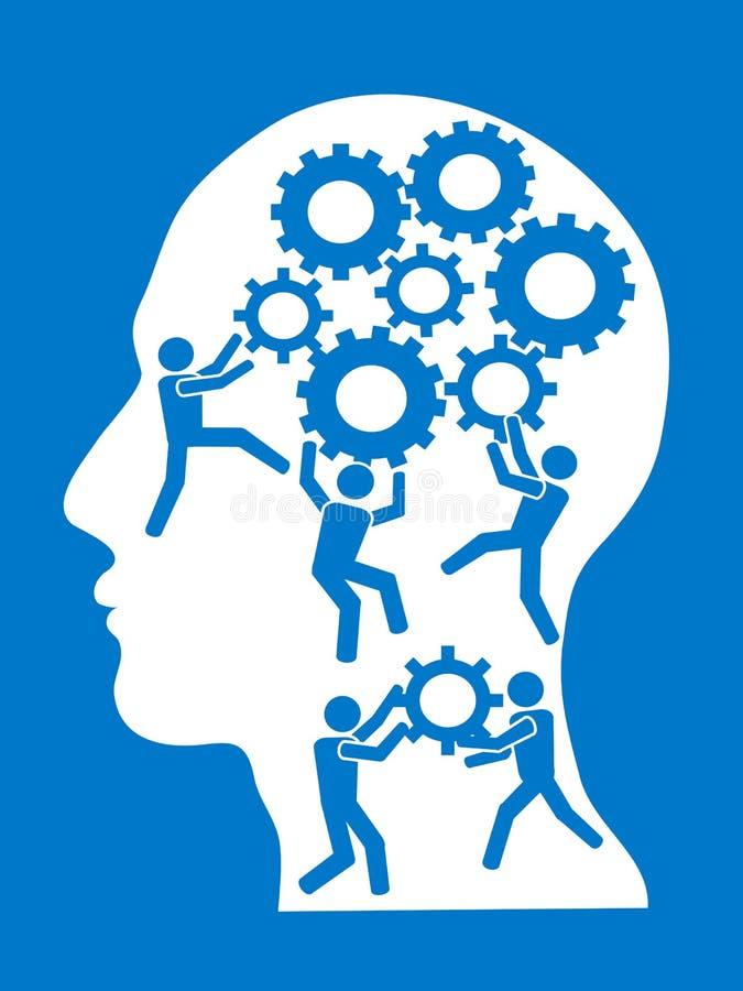 People working in gears brain stock illustration