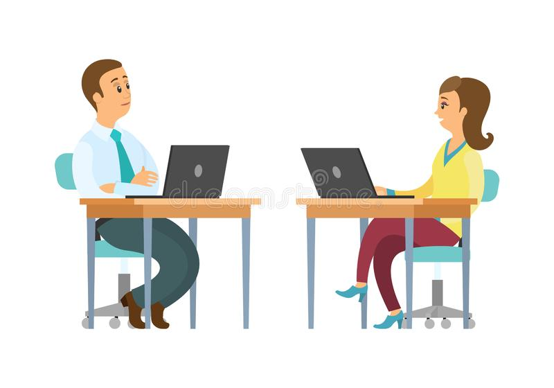 People Working on Laptops Office, Workers Support royalty free illustration