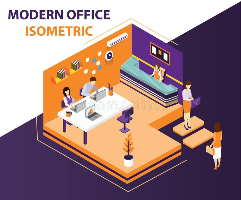 People Working in a Modern Office Isometric Artwork Concept. Isometric artwork concept of a modern office interior, where all the structure of the office is royalty free stock photography