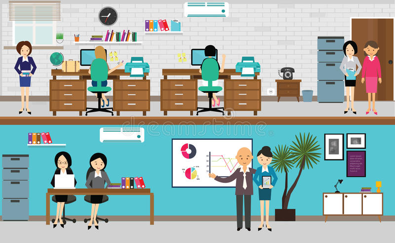 People working at office in flat vector illustration royalty free illustration