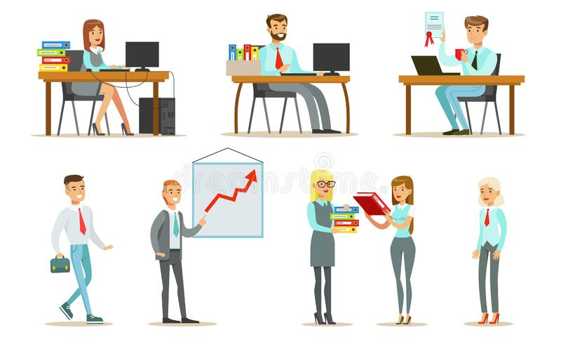 People Working in the Office Set, Male and Female Business Characters Sitting at Desks and Standing, Office Work stock illustration