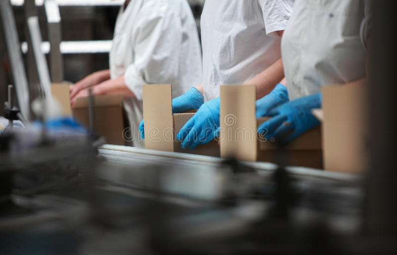People Working On Packing Line - Semi Automation Royalty Free Stock Photography
