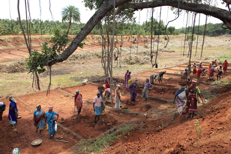 People working on a public land. People are working on a public land under NREGA on September 25 ,2010 in Nagarcoil,Tamilnadu.NREGA is Mahathma Gandhi National stock photo