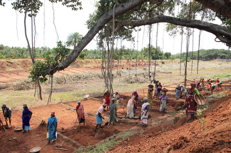 People working on a public land. People are working on a public land under NREGA on September 25 ,2010 in Nagarcoil,Tamilnadu.NREGA is Mahathma Gandhi National royalty free stock image