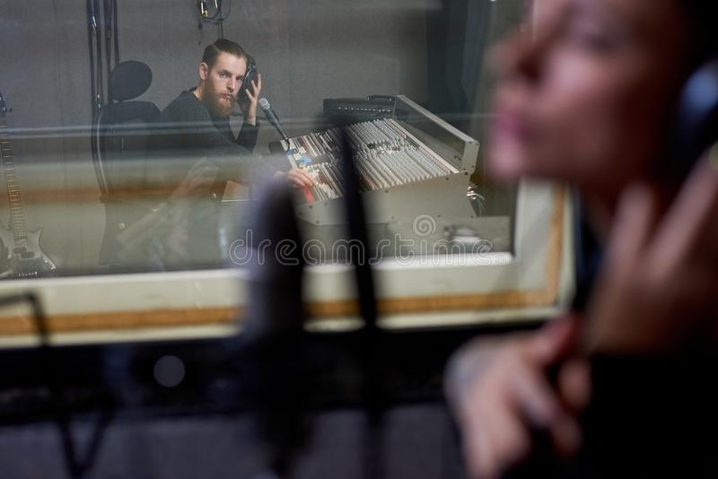 People working in recording studio royalty free stock image