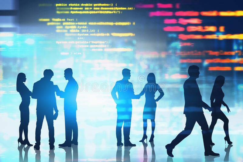 People working in software development. Silhouettes of business people communicating and discussing documents over blurred city background with lines of code stock illustration