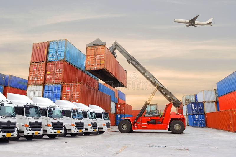 People working with technology. Business man is controling, commanding, working with shipping logistics industry mode all in by using laptop technology stock photos