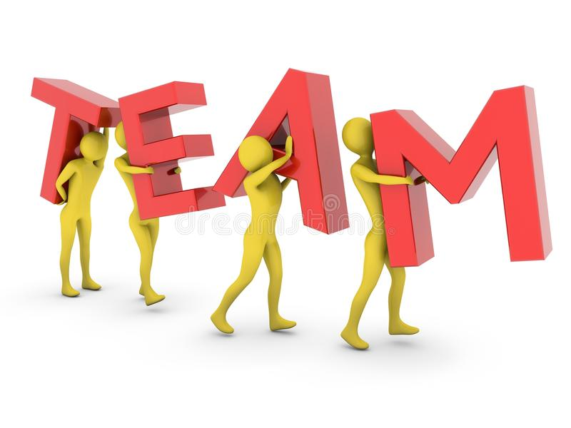 People working together carrying red Team letters vector illustration