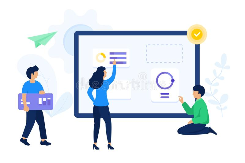 People are working together to finish project vector illustration