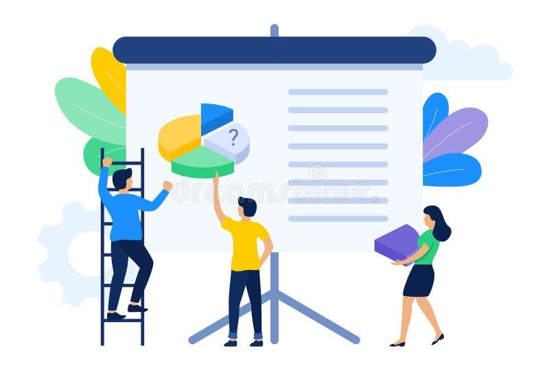 People working together to make presentation stock illustration