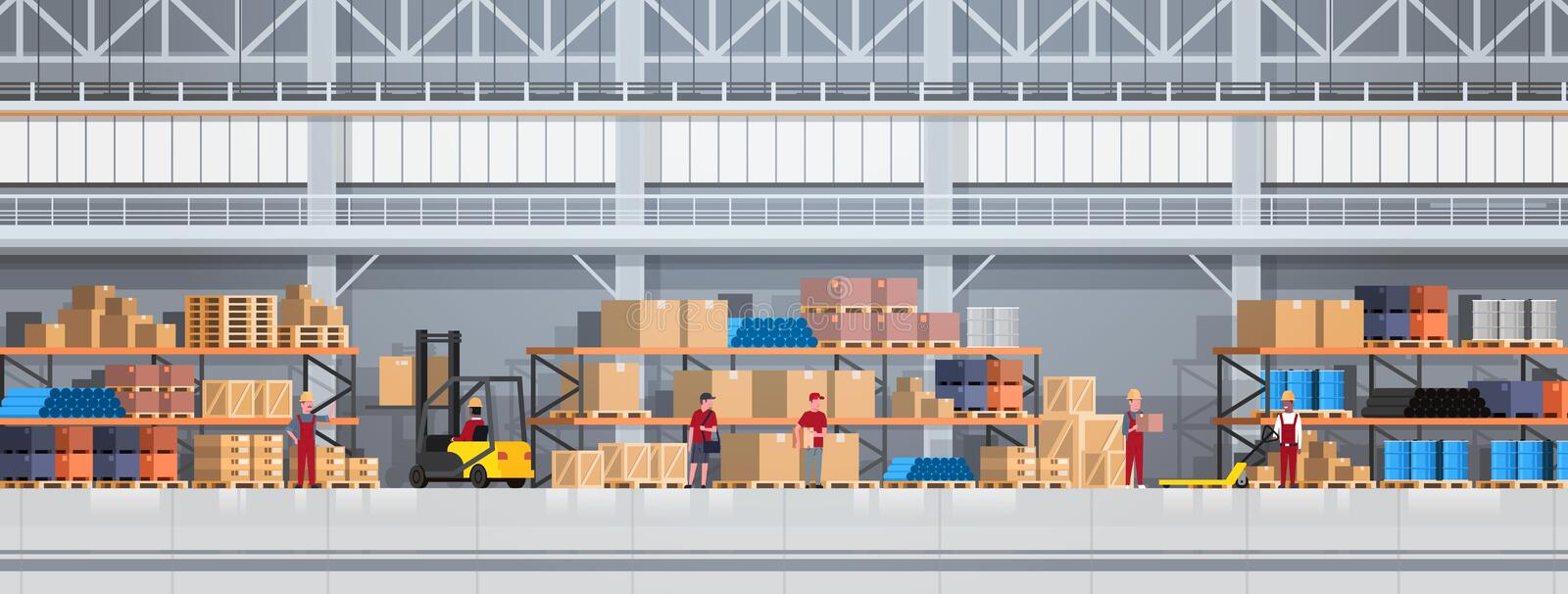 People Working In Warehouse Lifting Box With Forklift. Logistic Delivery Service Concept Horizontal Banner vector illustration