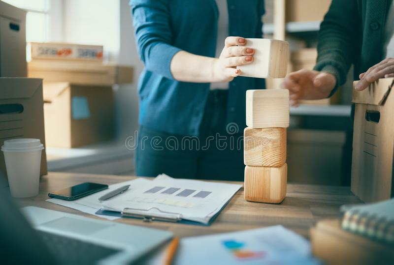 People are working  at warehouse royalty free stock image