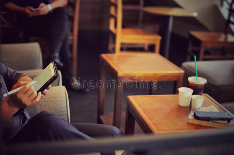 People works in coffee shop royalty free stock photos