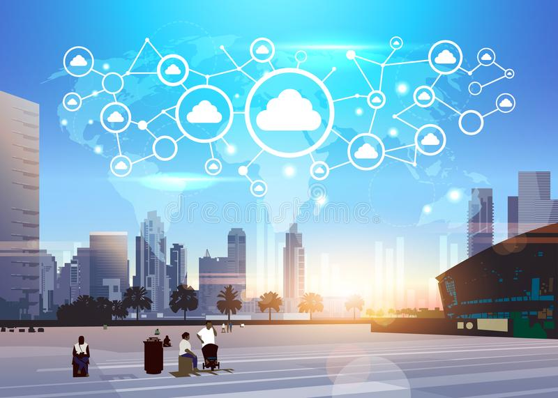People world map database cloud security network icon futuristic interface data privacy connection concept skyline. Sunset cityscape buildings background flat royalty free illustration