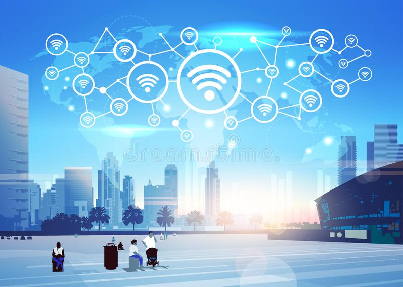People world map internet wireless technology icon network futuristic interface online wifi connection concept skyline vector illustration