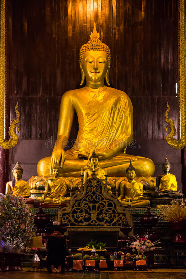 People Worship Buddha statue in Pan Tao Temple located. In Chiangmai stock images