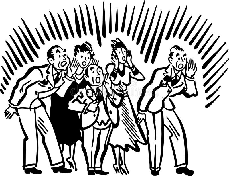 People Yelling. Group of five people yelling loudly royalty free illustration