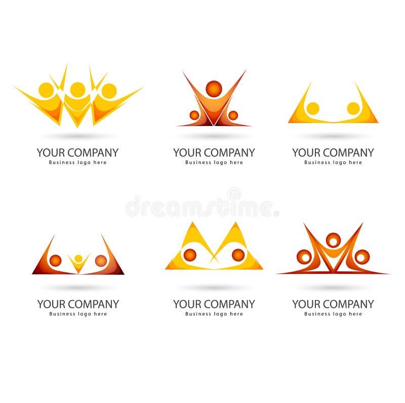 People yellowish orange color team work together set of logo stock illustration