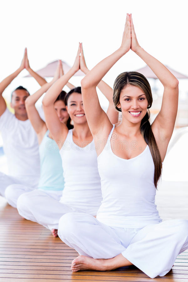 Download People in a yoga class stock photo. Image of peaceful - 31418180