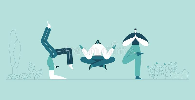 People yoga poses. Man and woman doing asana and meditate. Modern cartoon characters and green plants background. vector illustration