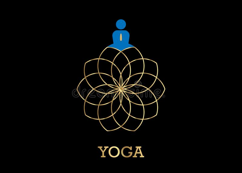 People Yoga Studio Logo and gold Lotus Flower. Emblem icon, Man in lotus pose icon and Health Spa Meditation Harmony Logotype stock illustration