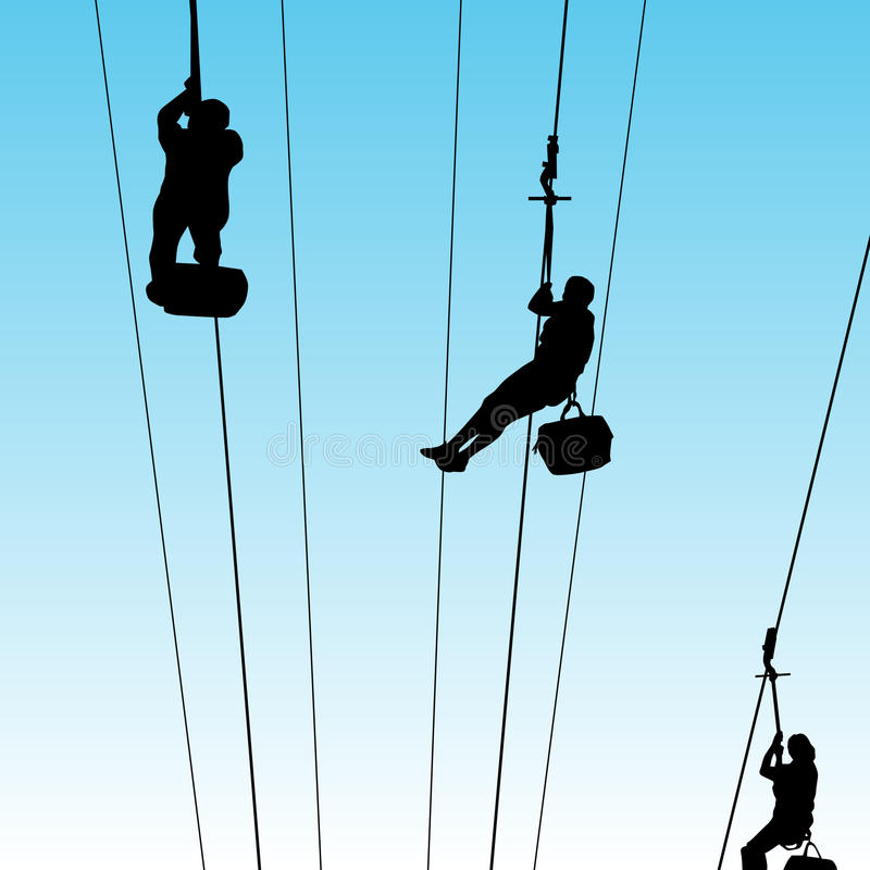 People On Zip Line stock vector. Illustration of wire - 42071301