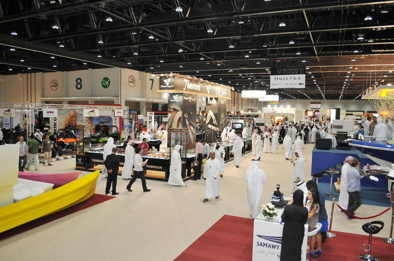 Peoples at Abu Dhabi International Hunting and Equestrian Exhibition (ADIHEX). 2013 in Adbu Dhabi National Exhibition Centre (ADNEC royalty free stock photography