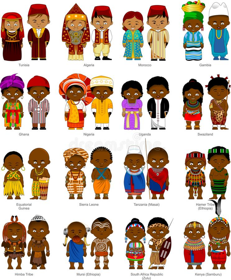 Peoples of Africa. African men and women in national traditional costumes, and illustration royalty free illustration