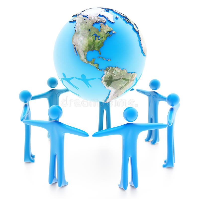 Peoples around the Earth planet on white royalty free illustration