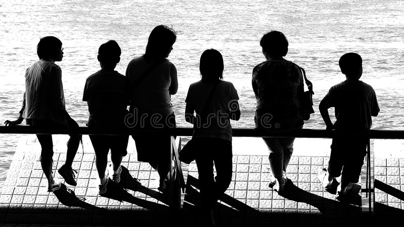 peoples silhouettes stock photo