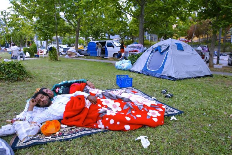 Peoplesleeping op park royalty-vrije stock foto's