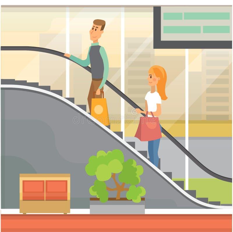 Peopple op roltrap in bureaucentrum stock illustratie