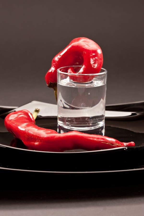 Pepe caldo e vodka fotografie stock