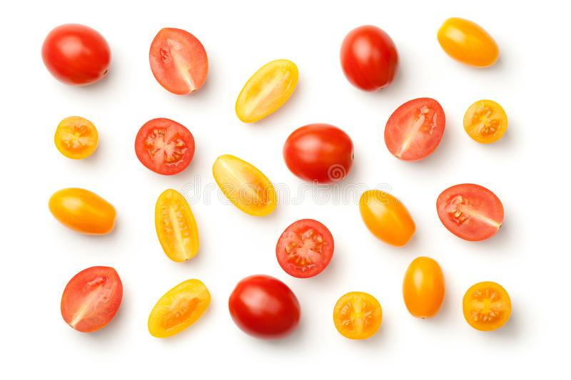 Pepe Cherry Tomatoes Isolated su fondo bianco fotografia stock