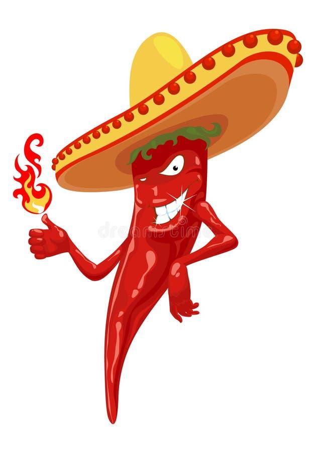 Pepe di peperoncino rosso caldo con fuoco illustrazione vettoriale