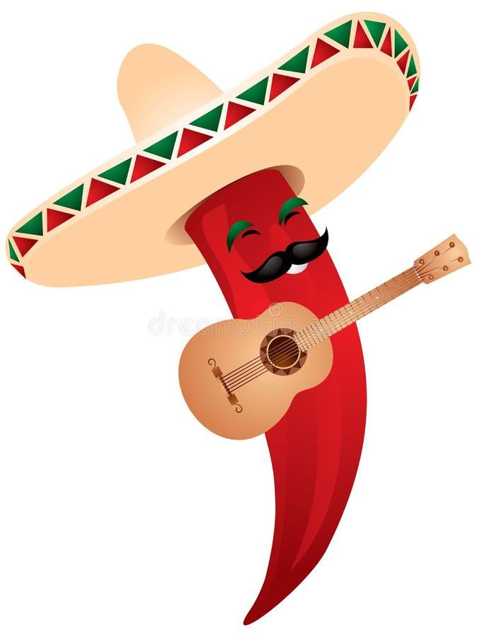 Pepe di peperoncino rosso in sombrero messicano illustrazione vettoriale