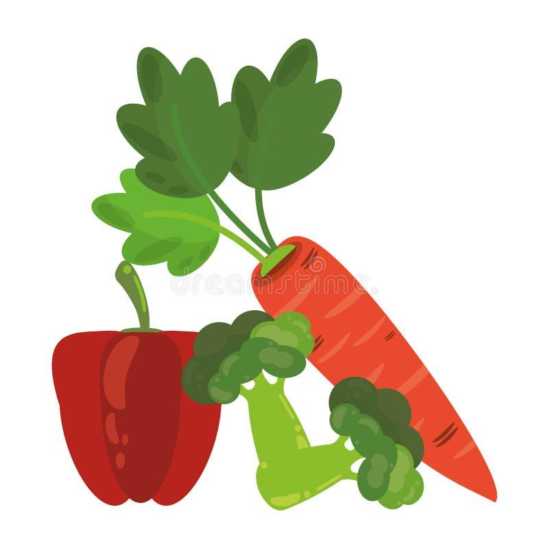 Pepe e broccoli con le carote illustrazione di stock
