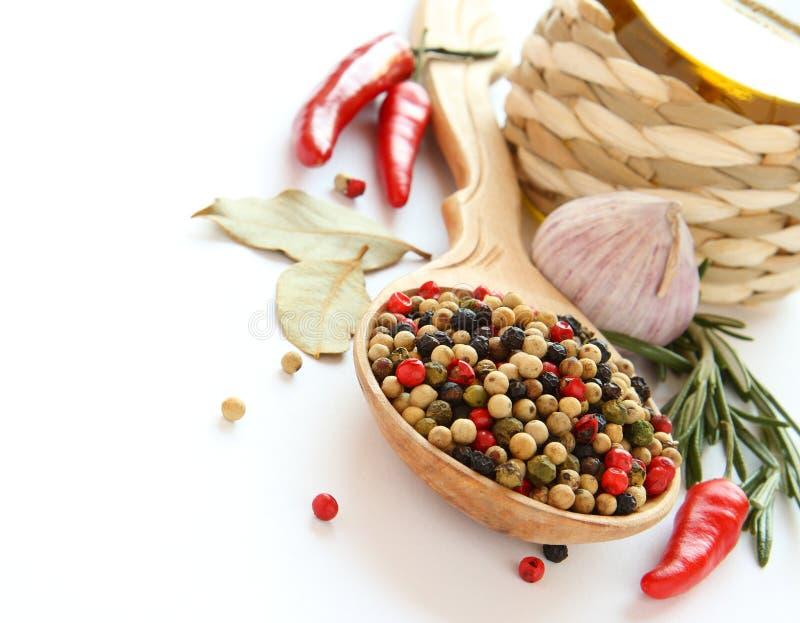 Pepe, olio d'oliva, aglio cinese, erbe e spezie fotografie stock