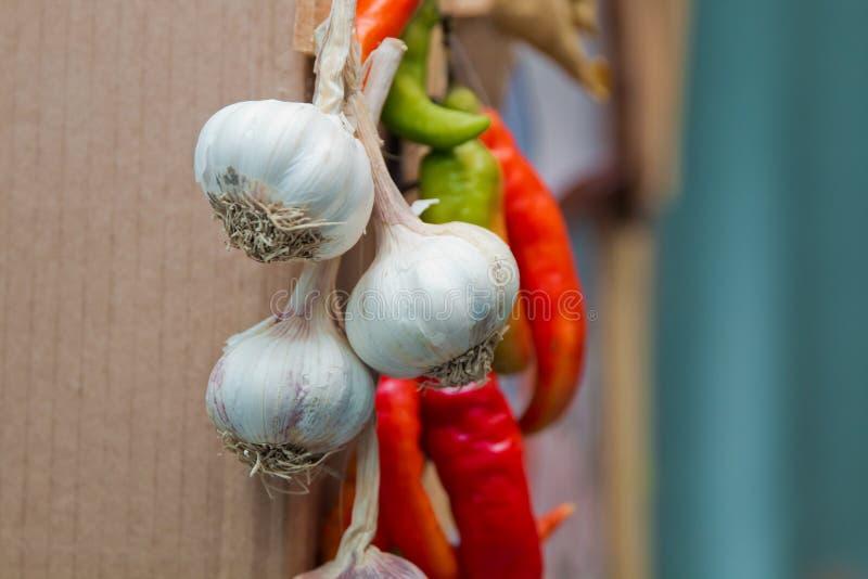 Pepe rosso ed aglio Peperoni caldi fotografie stock libere da diritti