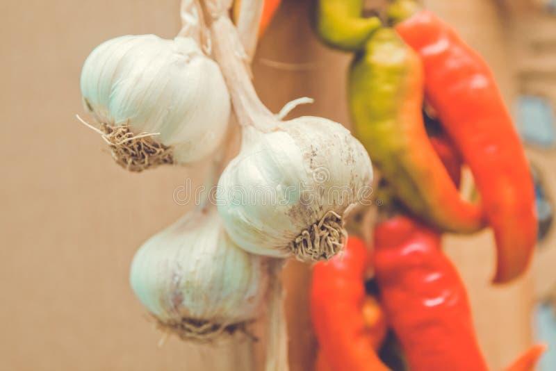 Pepe rosso ed aglio Peperoni caldi fotografia stock