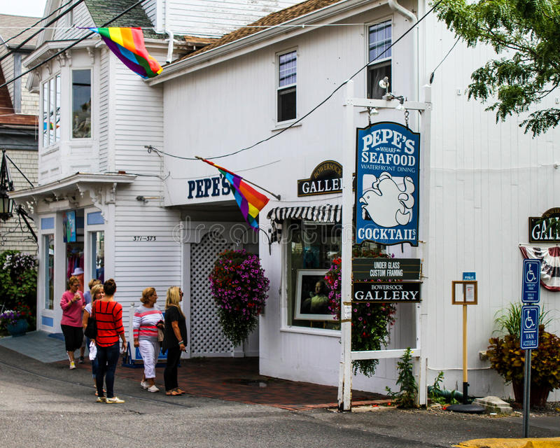 Pepe's Seafood, Provincetown, MA. Tourist hot spot for seafood and cocktails, the Pepe's located on Commercial Street in Provincetown, MA. (Cape Cod stock image